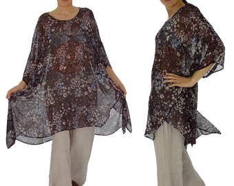 HO200GBT12 tunic plus size blouse chiffon Gr. 42-56 Eggplant