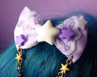 Purple / Dark Purple Pastel Stars Bow