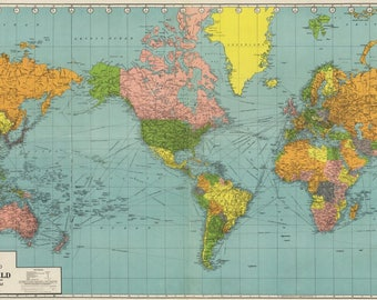 Panoramic Map of the World - 1942 (Art Print - Multiple Sizes Available)