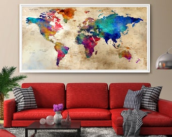 Wonderful Large Wall Art World Map, Colorful Wall Art, Watercolor Push Pin World Map  Print, Extra Large Wall Art World Map Poster, World Map Art (L93)