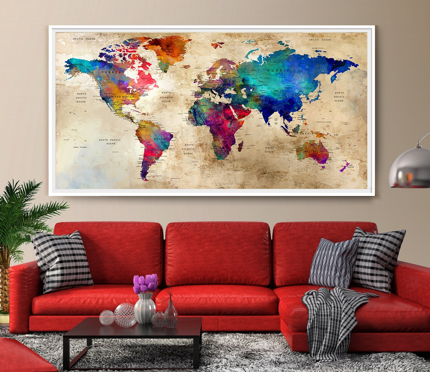 Exceptionnel Description. Large Wall Art World Map, Colorful ...
