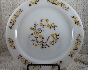 Pyr-O-Rey Dinner Plate, Gold and Brown Floral Dinner Plate