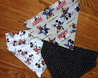 "3-Large size, Dog Scarf ""Mickey Mouse"" Collection Set, dog accessories, grooming, dog clothing, Mickey Mouse, dog bandana, pet clothing"