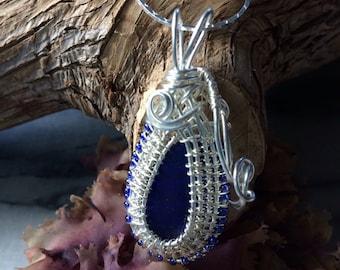 Cobalt Blue Seaglass Necklace