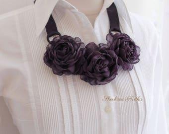 Purple violet floral necklace, Fabric flower necklace, Fabric jewelry, Bib necklace, Floral statement necklace, Dark purple chiffon roses