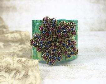 Jeweled Leather Cuff Bracelet, Vintage Jeweled Green Leather Cuff, MultiColored Rhinestone Flower Cuff Bracelet, Rocker Leather Cuff