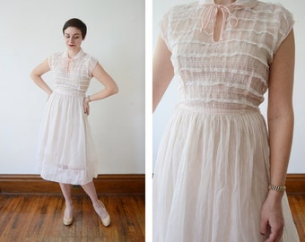 1950s Sheer White Dress By Saba of California - S/M