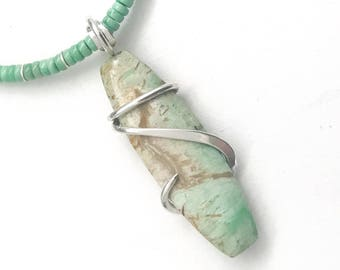 Variscite Necklace, Wire Wrapped Pendant, Wire Wrapped Jewelry, Variscite Pendant, Green Variscite, Gemstone Necklace, Boho Necklace