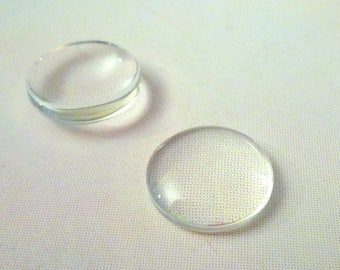 Set of 8 clear glass domes cabochons - 14mm