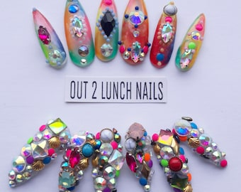 Rainbow, Gemstone, colourful, unicorn, embelished, Hand painted, Nail art, false nails, fake nails, glitter, gel nails, acrylic, rhinestones