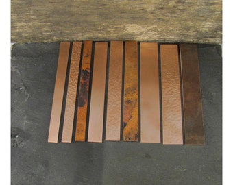 """RECYCLED VARIETY Textured/Hammered/Matte Copper Cuff Blanks, 9 Blanks, 1/2""""-1"""" Wide 17-14 Gauge 6 Inches Long"""