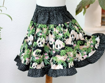 Panda Toddler Girl Clothes Cotton Toddler Girl Twirl Skirt Toddler Skirt Ruffled Skirt Toddler Gift Animals Toddler Girl Clothing 2T 3T 4T