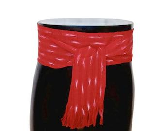 Aladdin Red Sash, SA53 - Pirate Belt - Ikat Fabric - Woven Sash - Guatemalan Clothing - LARP Belt - Gypsy Sash