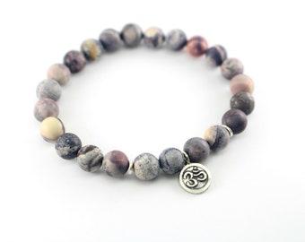 Terra Rosa Om Mala Bracelet, Nurturing Grounding Sacred All Meditation Bracelet, Gray Cream Pink Jasper Beaded Bracelet, Yoga Bracelet