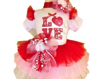 Valentines Day Tutu Set . LOVE Red Posey Valentine Tutu Set by The Tutu Factory USA ™