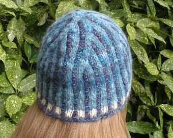 Sea Swirl Corrugated Rib Cap from Handspun Yarn