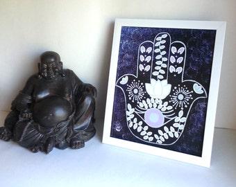 Hippie Bohemian evil eye hamsa hand art print, poster for baby nursery, dorm room, apartment, or home decor