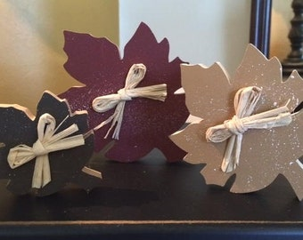 Autumn leaves, set of 3 wooden