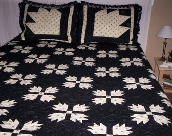 King Sized Quilt with Matching Shams/Handmade Bed Quilt/Cream,Black Color Scheme/ California King Quilt/ Quilted Large Bear Paw Pillow Shams