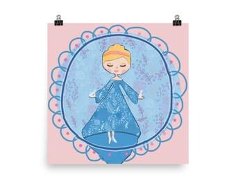 Whimsical Cinderella Fairy Tale Nursery Decor Poster