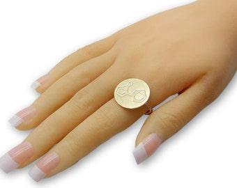 Dopamine ring- 14k gold chemistry jewelry, chemistry ring, science jewelry custom ring custom molecule unique jewelry