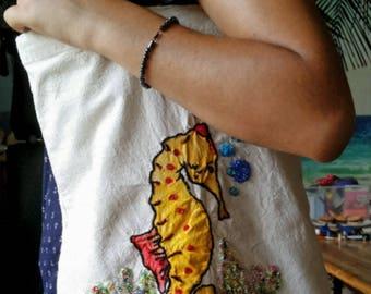 Tote bag, light bag, short shoulder straps, sea horse, pearls
