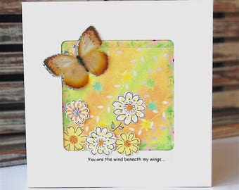 Butterfly Card, Mother's Day Card, Thank You, 3D Card, Handmade Card