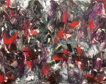 Original Abstract Acrylic Painting by Evan Saenger/ Abstract Expressionism/ 11x14 inch Stretched Canvas/ Red, Black, Gray and Purple Paints