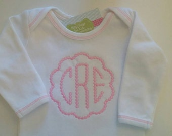 Personalized Monogrammed Infant Gown with Pink Topstitch for Baby Girl  0-6 months
