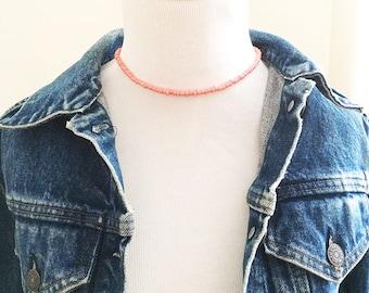 Pink choker, beaded choker, coral choker, seed bead choker, dainty choker, beaded necklace, gift for friend, boho choker, boho jewelry