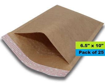 "Kraft Bubble Mailer, 6.5"" x 10"", Lightweight Padded Envelopes, Self Sealing, Bubble Envelopes, Paper Mailers"