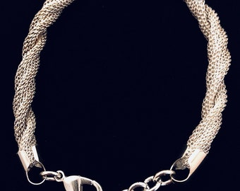 Twisted Mesh Rope Silver Plate Bracelet by UnoAErre