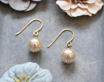 Pearl Drops, Pearl Dangles, Gold Earrings, Pearl Earrings