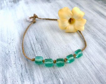 Green glass bead anklet - handmade in Hawaii