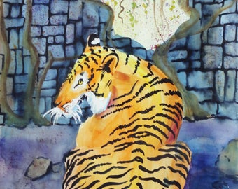 Jungle Tiger Original Watercolor Painting