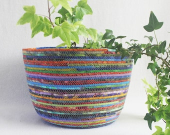 Fabric Coiled Basket / Rope Bowl / Plant Pot / Coiled Clothesline Extra Large Round Jewel Tones by PrairieThreads