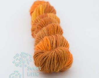 Mini skein - Beautiful hand dyed brown and orange hank of sock weight superwash merino wool