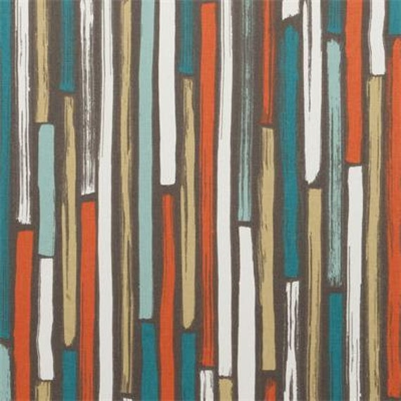 Teal Orange Upholstery Fabric Dark Teal Geometric Cotton