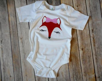 Girl Fox Shirt,  Fox Face Shirt, Girls Birthday Shirt, Girls Fox TShirt, Fox Birthday Shirt, Fox Face with Pink Bow Shirt, Woodland Theme