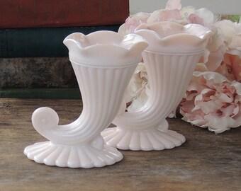 Pair of 2 Jeanette Cornucopia Pink Milk Glass Vases Ca. 1950s Mid Century Home Decor