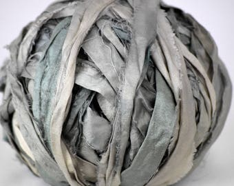 5 yards gorgeous Nonpareil recycled silk ribbon Ultimate Beautiful pale WASHEDOUT PUTTY and MOSS silk, washed out watercolor hand dyed