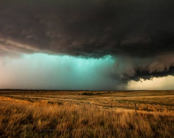 Storm Art Print - Fine Art Landscape Photography Print of Teal Storm in Texas Panhandle Anniversary Gifts Texas Decor Thunderstorm Photo