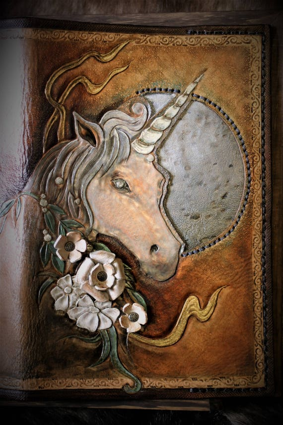 leather journal, leather book cover, fantasy leather, embossing leather, unicorn, under the moon
