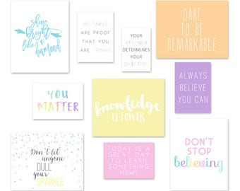 Inspirational Art Prints for Classroom, Pastel Classroom Decor, Playroom Art Quotes, Motivational Quotes, Art for Teachers, Pastel Rainbow