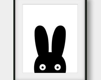 60% OFF Bunny Print, Black Bunny Nursery Print, Nursery Decor, Scandinavian Poster, Baby Room Wall Art, Minimalist Art, Black Bunny Print