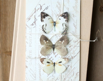 collection no. 31 silk butterflies . white and brown silk butterflies . hair clips, pins, magnets . realistic gifts wedding, bridesmaids