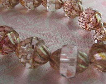 Transparent Bronze Picasso Turbine Czech Glass Bead, 11 x 10 Turbine, Czech Glass Turbine Bead, Czech glass, Red Beads, Czech Glass