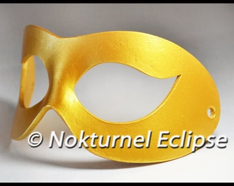Gold Leather Superhero Mask Adult Comic Con Halloween Cosplay Costume Mardi Gras Masquerade Ball Carnival Party AVAILABLE In ANY COLOR