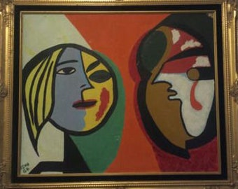 two faced vintage pop painting, signed by reno '64