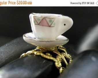 SUMMER SALE Porcelain Teacup Ring. Pastel Geometric Tea Cup Ring. Gold Filigree Adjustable Ring. Handmade Jewelry.